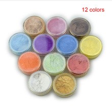 купить 12 Color Mica Pigment Powder for Soap Cosmetics Resin Colorant Dye Nail Art WH998 по цене 225.35 рублей