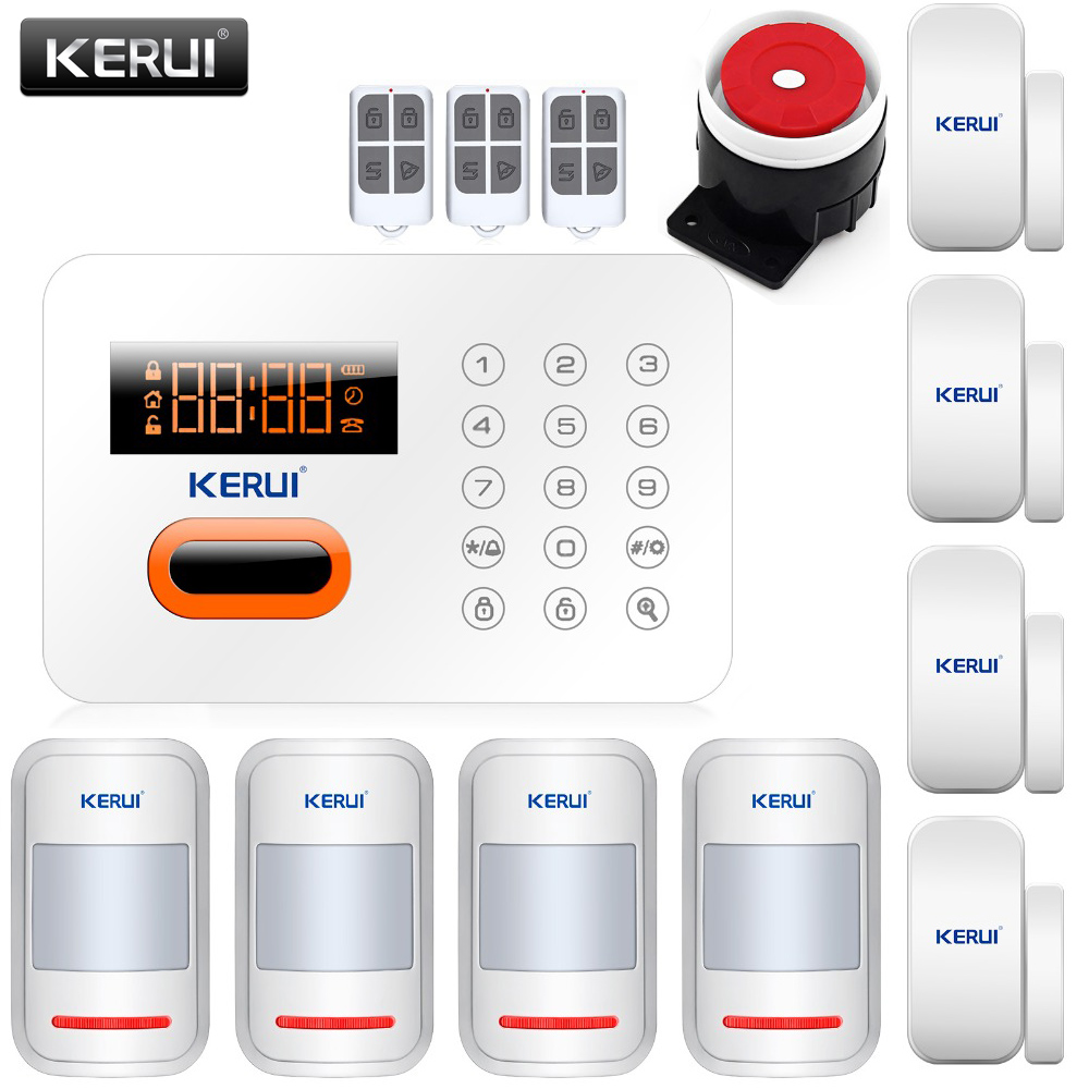 High quality New KERUI EN/Russian/Spanish Menu 120 Zones Touch Keypad PSTN Wireless Home Secure Smoke Alarm System Kit