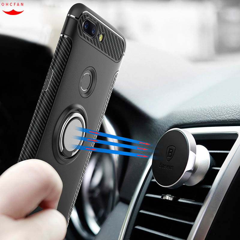 Oneplus 5T Case Car Holder Cover Cases For Oneplus 5 T Ring 360 Degree Rotation Holder Hybrid Shockproof Phone Case Cover