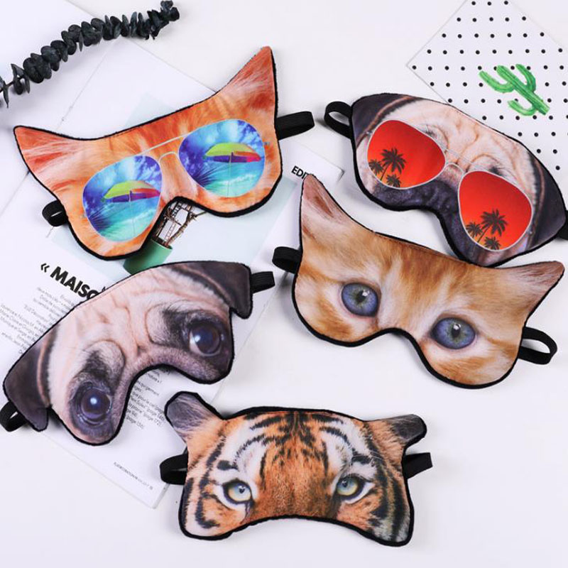 1 Pcs Cartoon 3D Printing Eye Masks To Help Sleep Animal Shade Sleep Mask Black Mask Bandage on Eyes for Party Mask Decorations