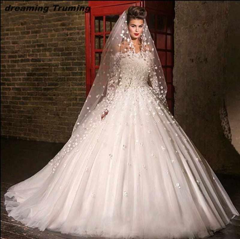 e243c93a3c176 Princess Arabic Wedding Dresses 2019 Turkey Lace Handmade Flower Ball Gown  Long Sleeve Strapless Bride Dresses