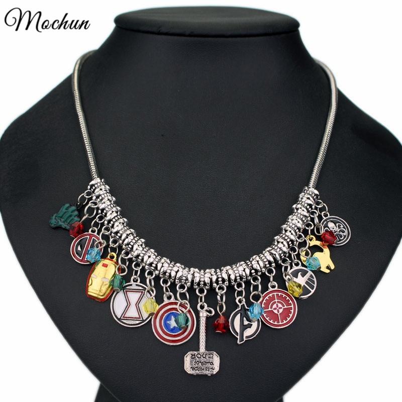 MQCHUN New Fashion Marvel Avengers Captain America Iron Man Mask Thor's Hammer Eagle Deadpool Hulk Crystal Beads choker necklace