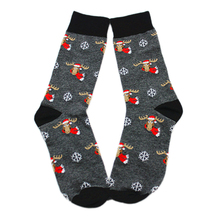 Men Grew Socks Cotton Material Cartoon Pattern Elk Dog Anime Christmas Winter Autumn Casual Warm