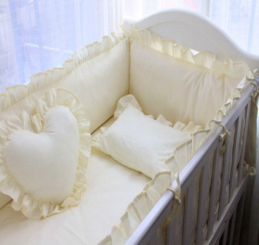 7 шт. детская кровать комплект хлопок В стиле принцессы моющиеся Пеленальные принадлежности Набор кроватка Простыни Детские Наволочки одно... ...