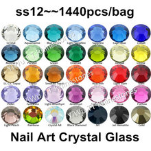 Super brillant 1440 pièces/sac, SS12 (3.0-3.2mm) Multi couleurs cristal AB 3D dos plat Non Hotfix Nail Art strass décoration(China)