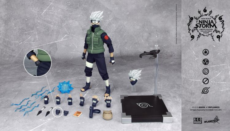MODEL FANS Inflames Toys NARUTO 30cm height 1/6 Hatake Kakashi contain two head action figure toy for Collection naruto hatake kakashi pvc action figure collectible toy 24cm kunai