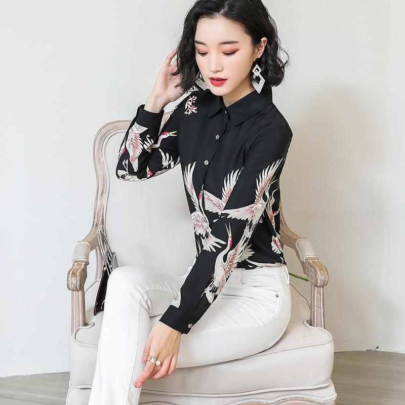 2019 Tamaño Botón Mujer Blusas Animal Negro Moda Gasa Mujeres Blusa 50 Tops 2332 Harajuku Y De Plus Collar ztqqvW7p
