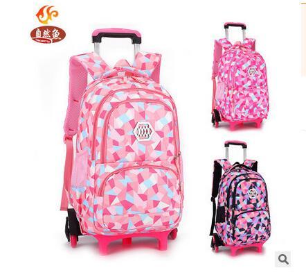 Kid's Travel Luggage Rolling Bags School Trolley Bag Backpack On Wheels Girl's Trolley School Backpack Wheeled Bags For Girls