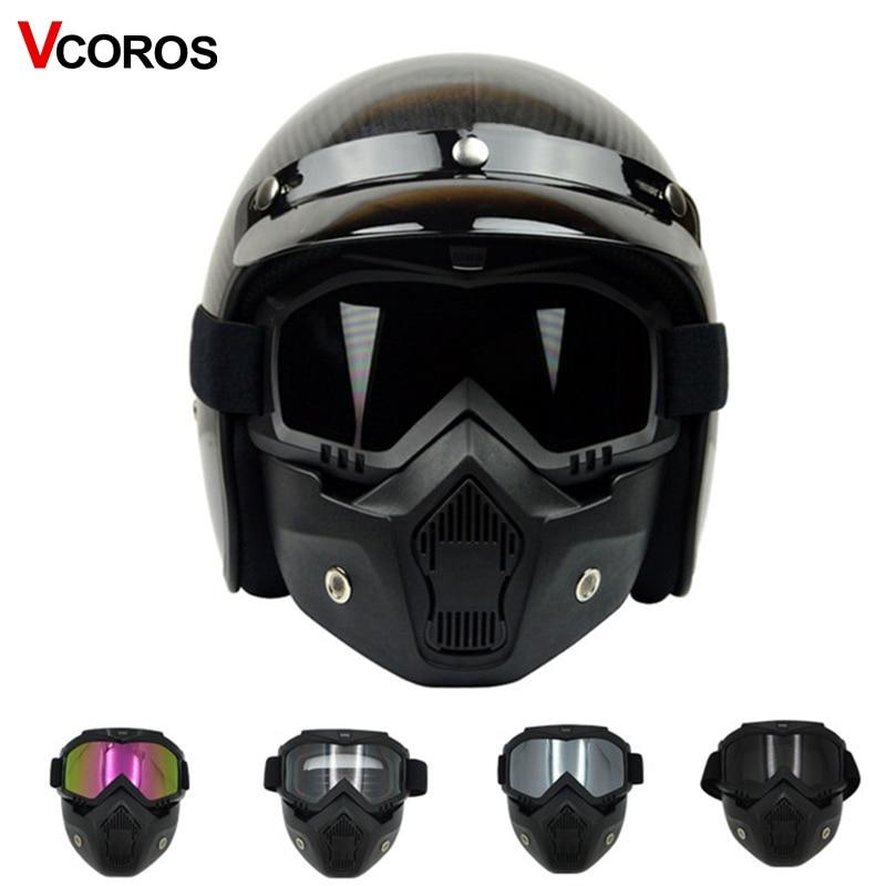 VCOROS odvojivi Skull maska naočale za vintage motocikl kaciga čudovište maska za skuter jet retro moto kacige cosplay maska  t