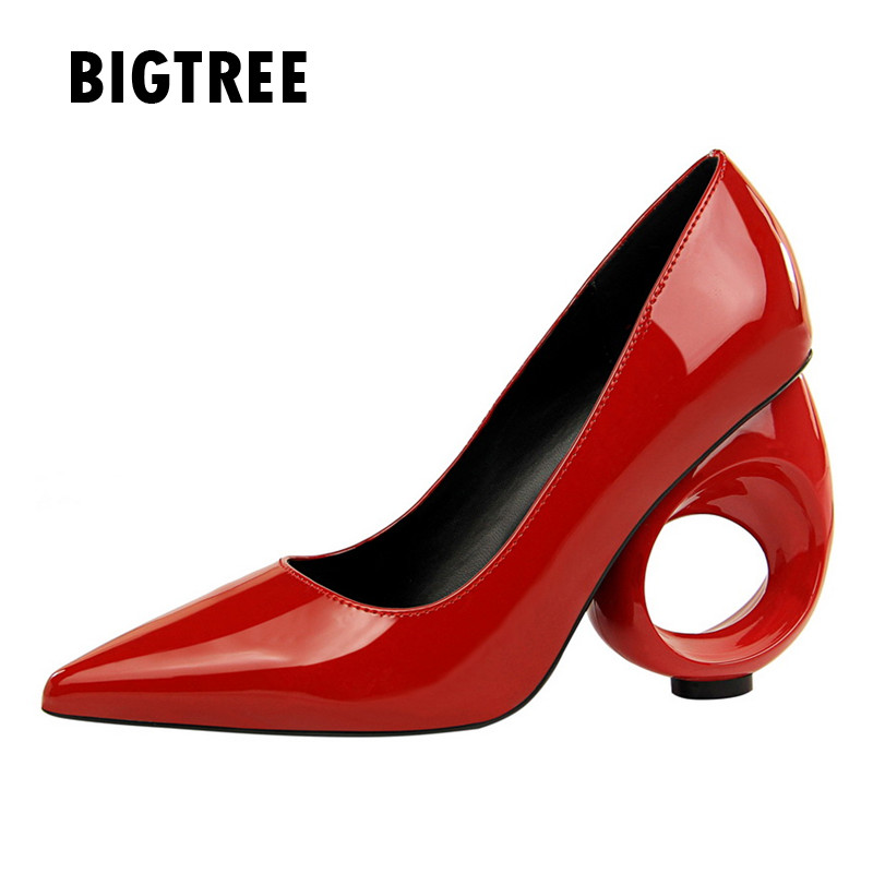 e02999710e7e9 2018 New designer Women pumps Fashion cut-outs strange style high heels  Spring Summer patent leather club party shoes woman