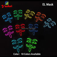 Event Party Mask Decoration 10 Colors 30pieces Wholesale Flashing Product EL Wire Mask Party Glow Mask with Steady on Driver