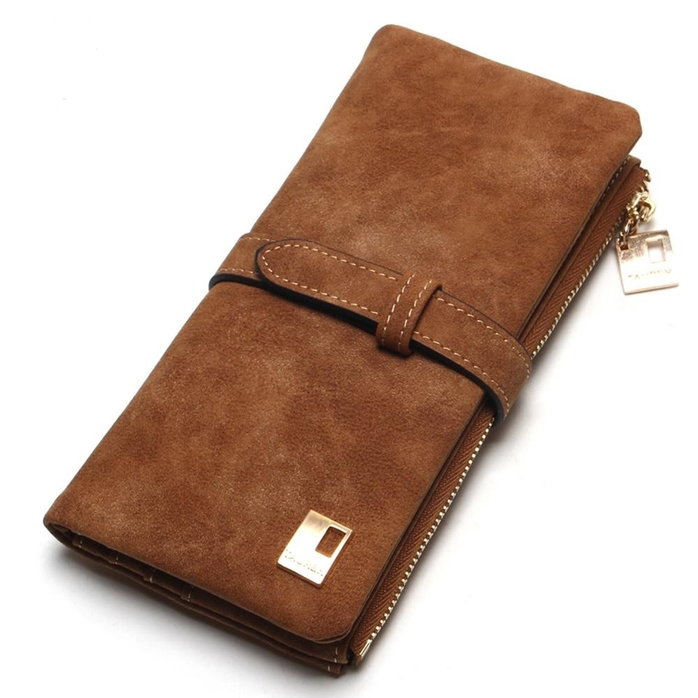 New Fashion Women Wallets Drawstring Nubuck Leather Zipper Wallet Women 39 s Long Design Purse Two Fold More Color Clutch 194Q in Wallets from Luggage amp Bags