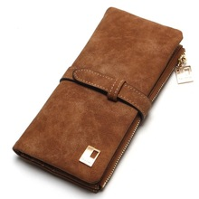New Fashion Women Wallets Drawstring Nubuck Leather Zipper Wallet Women's Long Design Purse Two Fold More Color Clutch 194Q