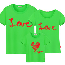 Family matching mother and daughter clothes dress family look t-shirt mother father son matching cotton Love T-shirts for family