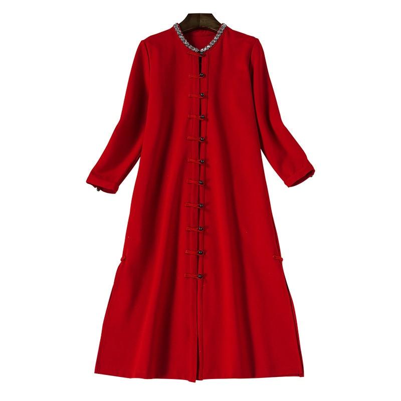 breasted Femmes D'hiver Vintage Nouvelle Et Station Des 2017 Rouge Manteau Single Vêtements Européenne Automne FzPSqT