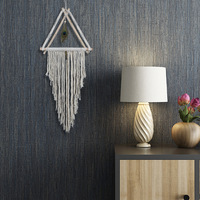 New handwoven triangular wooden tapestry Peacock feather decoration Bohemian wall decoration cotton thread tapestries Fiber art