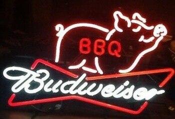 Custom BBQ Pig Meats Budweise Glass Neon Light Sign Beer Bar