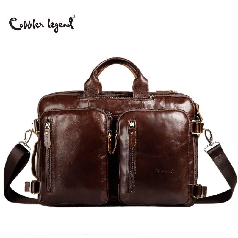 Cobbler Legend Cow Leather Laptop Briefcase Brand Genuine Leather Briefcase For Man Leather Bag Laptop Bags Laptop Travel Bags