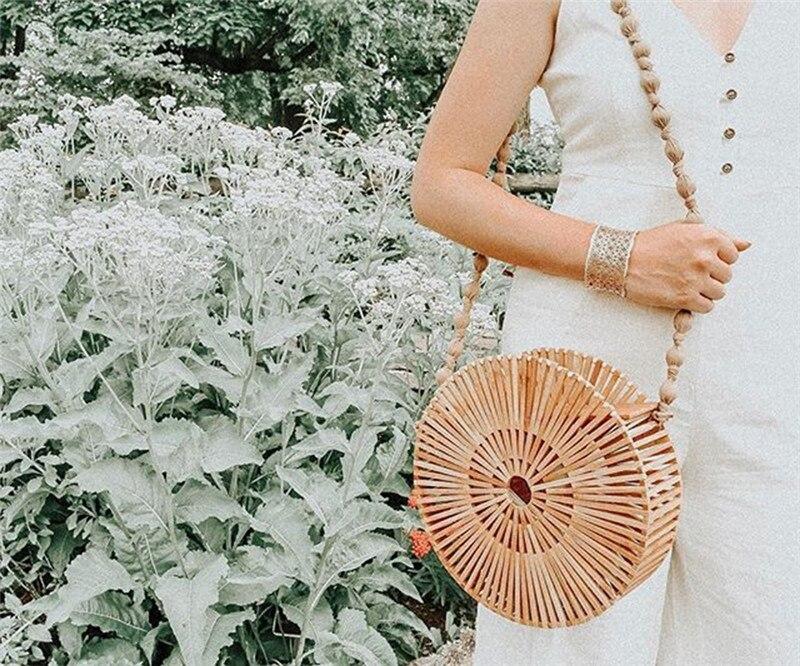 2019 Bambou sac de rangement Ronde En Bois Sac À Main Tissé Évider Plage sacs à main de luxe sac pour femme Designer Femmes sac à bandoulière D'été