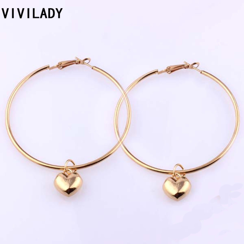 dfa988ecc3ee4 VIVILADY Fashion Mother Day Gifts Heart Charms Hoop Earrings Women Evening  Party Gold Color Lead Cadmium Free Top Quality MD52