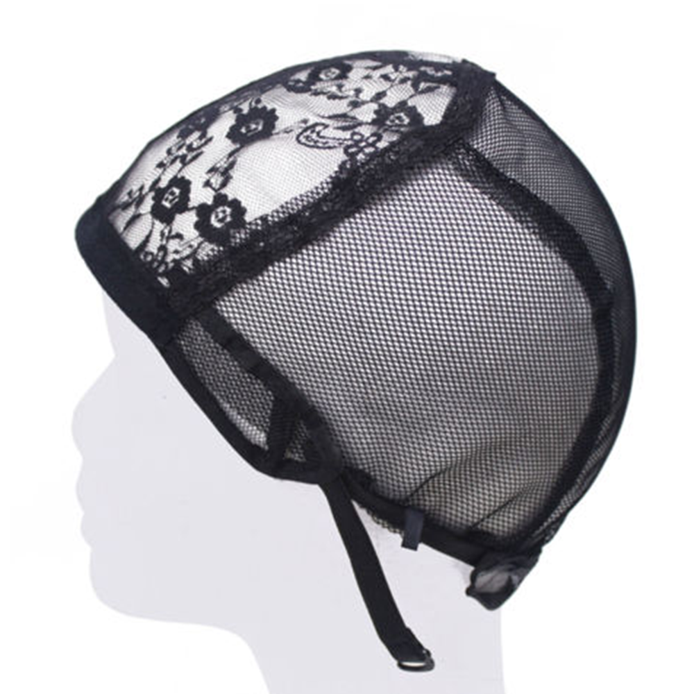 Lace Mesh Wig Cap For Making Wigs Hair Weaving Stretch Adjustable Straps Bonnet Black Dome Wig Cap