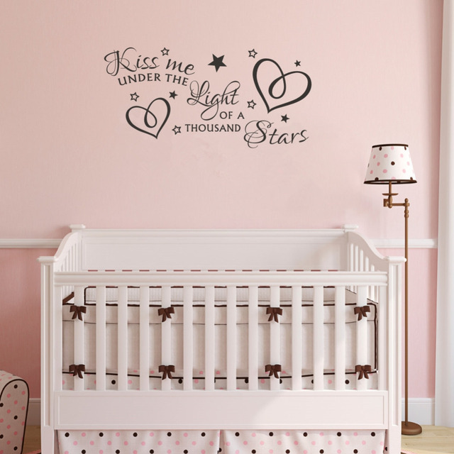 kiss me under the light of a thousand stars quotes vinyl wall art