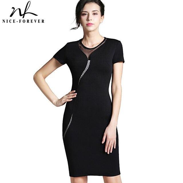 Nice-forever sexy illusion delgada acoplamiento de la manera de las mujeres clubwear full zip volver negro patchwork dress elegante slim lápiz dress b215