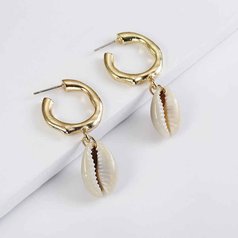 Vintage Fashion Gold Color Conch Shell NEcklace EArrings For Women Shape Pendant Simple shell Ocean Beach Boho Jewelry