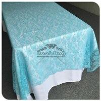 Красная кружевная прямоугольная скатерть для свадебного банкета отельный Настольный чехол вечерние принадлежности домашний текстиль - Цвет: Tiffany Blue