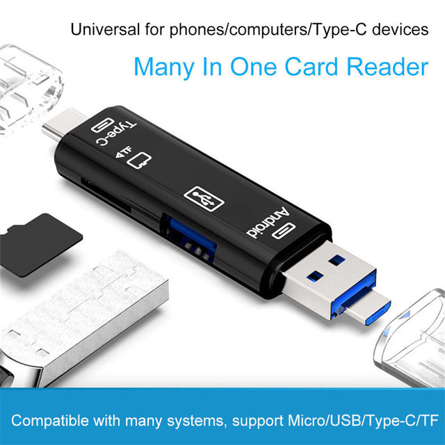 Type C & Micro USB 5 In 1 OTG Card Reader Flash Drive High-speed USB2.0 Universal OTG TF/SD Card for Android phone Computer 3