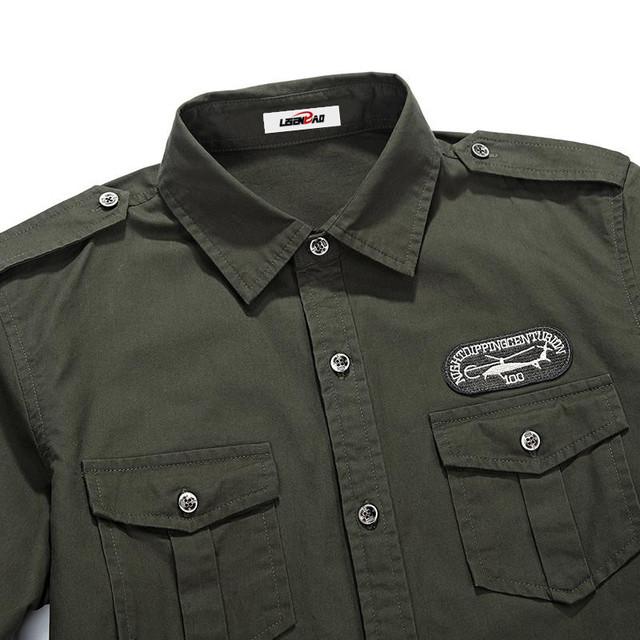 Mmilitary uniform style men Casual long sleeved shirt