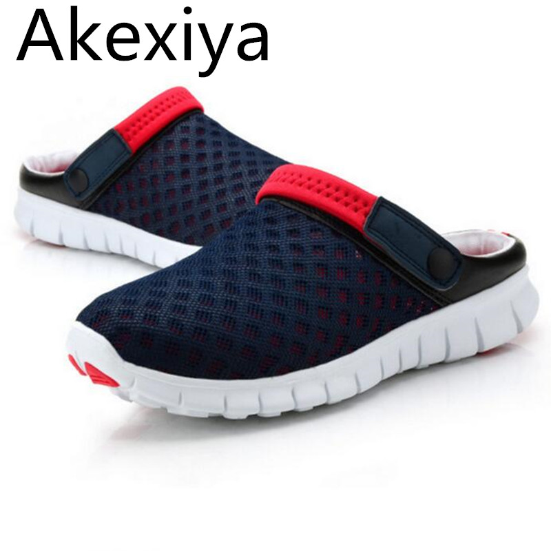 Akexiya New 2017 Men Slippers Shoes Fashion Breathable Hollow Out Sandals Flip Flops Leather Trend Of