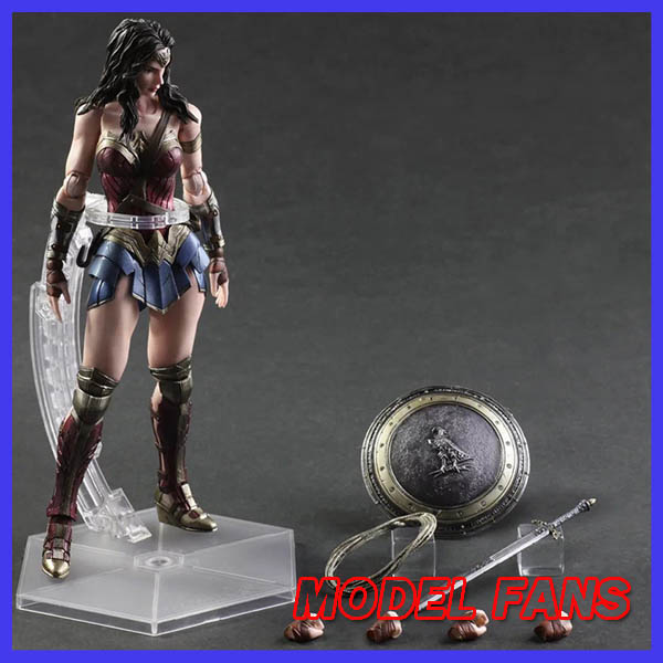 MODEL FANS Wonder Woman Figure Batman Superman Play Arts Kai Variant PVC Action Figure Wonder Girl Diana Prince 25cm Doll Toys super street fighter iv akuma gouki white variant play arts kai action figure