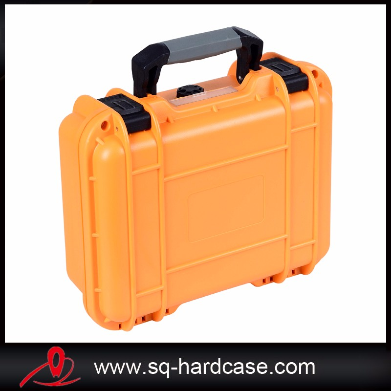 small orange PP tool box shockproof waterproof ,light weight tool case with handle tool case gun suitcase box long toolkit equipment box shockproof equipment protection carrying case waterproof with pre cut foam