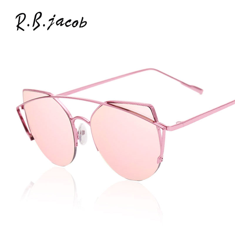New Women Cat Eye Mirror Sunglasses Fashion Brand Designer Vintage Sun Glasses For Lady Metal Frame 2017 Stylish Cool Shades