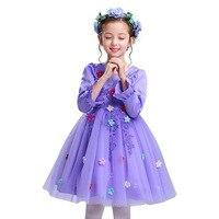 Top Grils Hiver et Printemps Robe Flare Manches Longues Enfants fleur Filles Robe Fée Tasseled Princesse Enfants Robe pour la Partie Proms