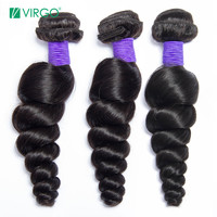 VOLYS Virgo Brazilian Loose Wave Hair 100% Human Hair Weave Bundles Remy Hair 1 / 3 PCS Natural Color 1B Can Buy 3/4 Bundles