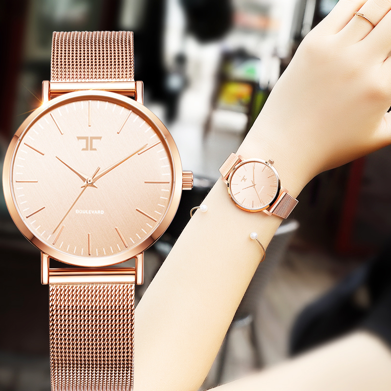 Ladies Simple Rose Gold Stainless Steel Mesh Band Gold Watch Womens Watches 2016 Top Brand Casual Quartz Watch Women Waches 2016 new ladies fashion watches decorative grape no word design gold watch stainless steel women casual wrist watch fd0107