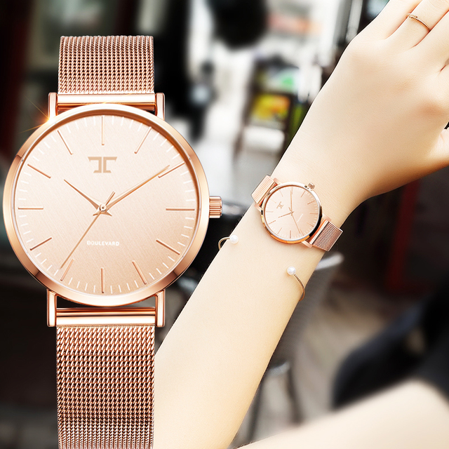 Ladies Simple Rose Gold Stainless Steel Mesh Band Gold Watch Womens Watches 2016