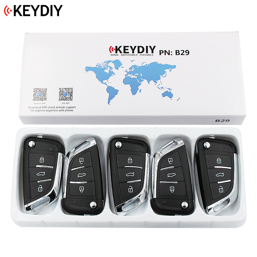 5PCS LOT KEYDIY 2 1 Buttons Universal Remote Control Key B Series B29 for KD MINI