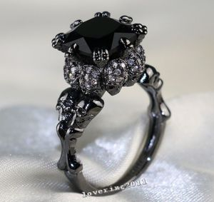 Punk Jewelry Cool Skull Ring 10kt Black Gold Filled 8MM AAA CZ Simulated stones Wedding Prong Women Band Ring Gift Size 5-11