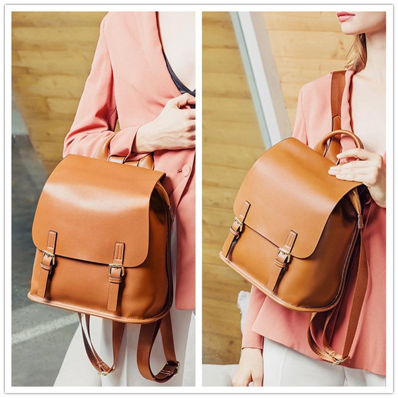 Burminsa koreański styl prawdziwej skórzany plecak dla kobiet małe nastolatek dziewczyny torby szkolne wysokiej jakości panie plecak podróżny 2019 w Plecaki od Bagaże i torby na  Grupa 3