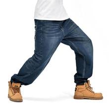 Hip Hop-männer Baggy-Jeans Klassische Dunkelblau Lose Denim Hosen P5049