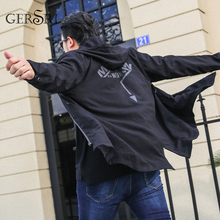 Gersri Mens Hooded Trench Coat Male High Fashion Casual Windbreaker Jacket Spring Autumn Long Oversized XL-6XL