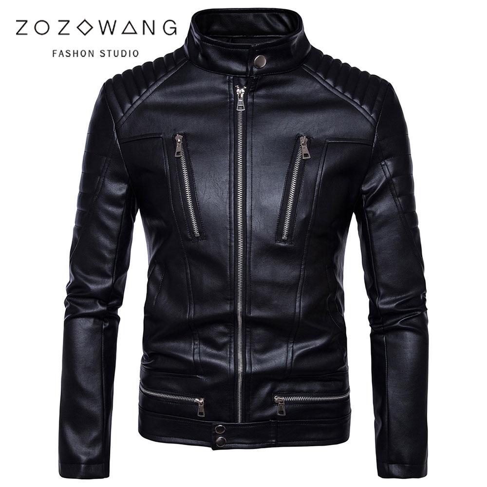 ZOZOWANG 2019 NEW Motorcycle leather jacket men clothing Mandarin PU Leather Jackets Men black jacket Casual leather jaket men