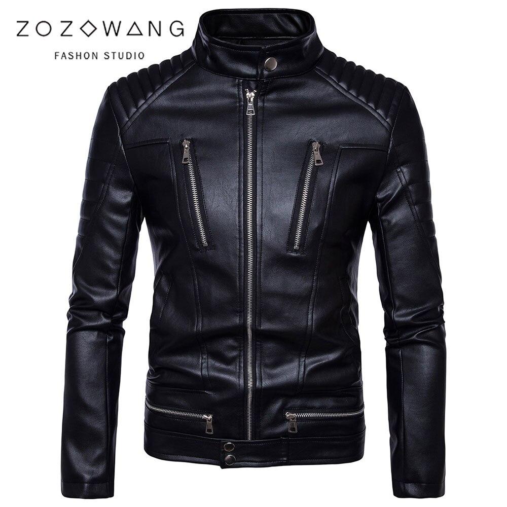 ZOZOWANG 2019 nouvelle moto en cuir veste hommes vêtements Mandarin vestes en cuir synthétique polyuréthane hommes noir veste décontracté en cuir jaket hommes