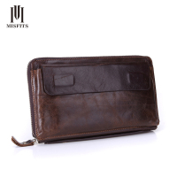 NEW Vintage Men Top Genuine Leather Wallets Brand Fashion Cowhide Multi Clutch Purse Retro Brown Wallet