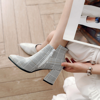 2019 Large Size Women Boots Fashion Plaid Pointed Toe High Heels Women's Shoes Sexy Autumn Winter Ankle Boots female n245 3