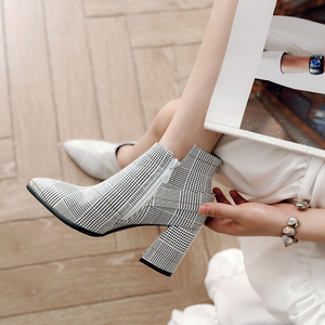 Image 4 - 2020 Large Size Women Boots Fashion Plaid Pointed Toe High Heels Womens Shoes Sexy Autumn Winter Ankle Boots female n245