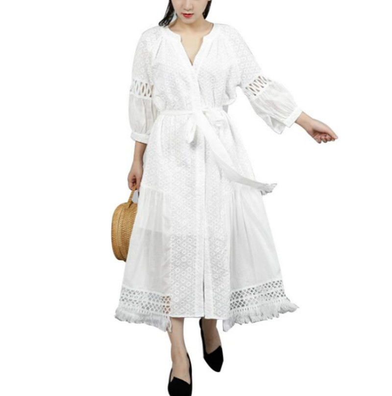 Demi manches broderie creux Bandage robe d'été pour les femmes tunique dentelle lanterne manches robes irrégulières pour les femmes femmes